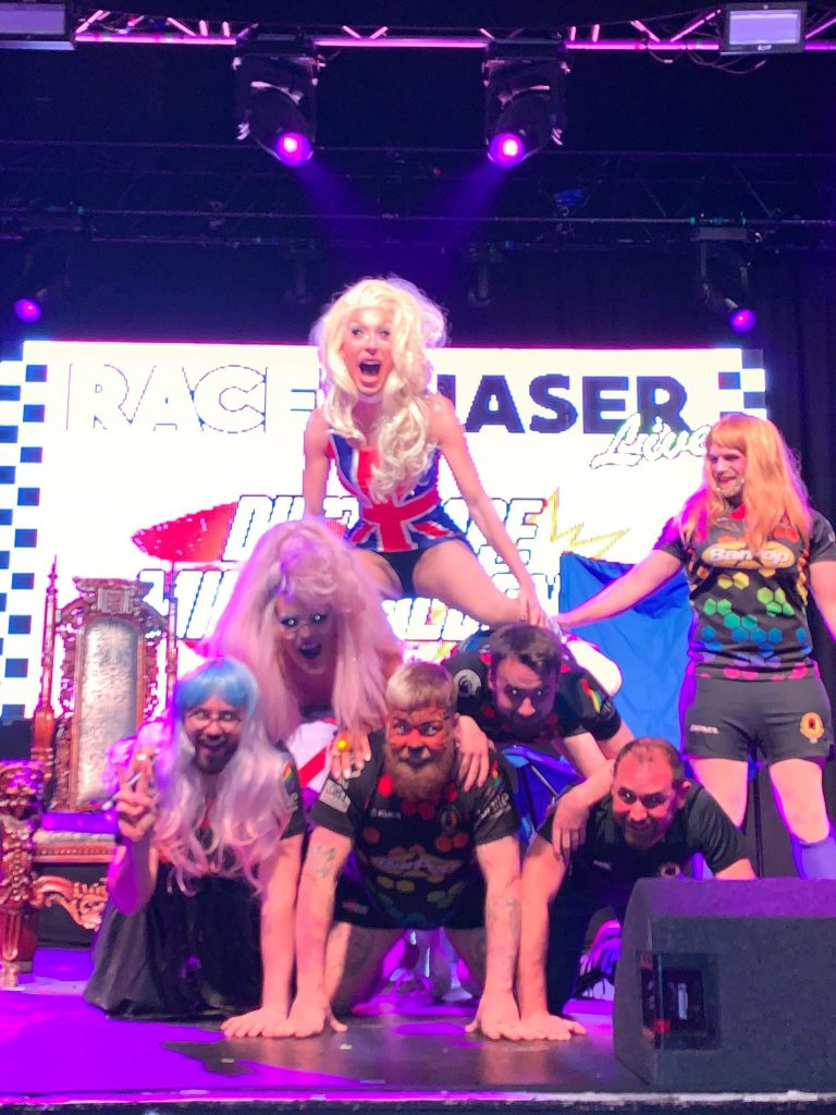 Manchester Village Spartans form a human pyramid for drag race superstars, Alaska and Willam at Manchester Academy on Tuesday 26th November